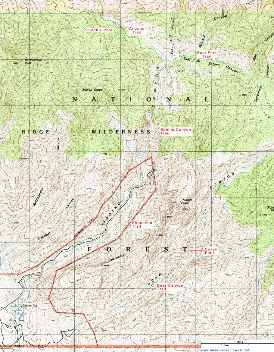 Map of Sabino Canyon Recreation Area