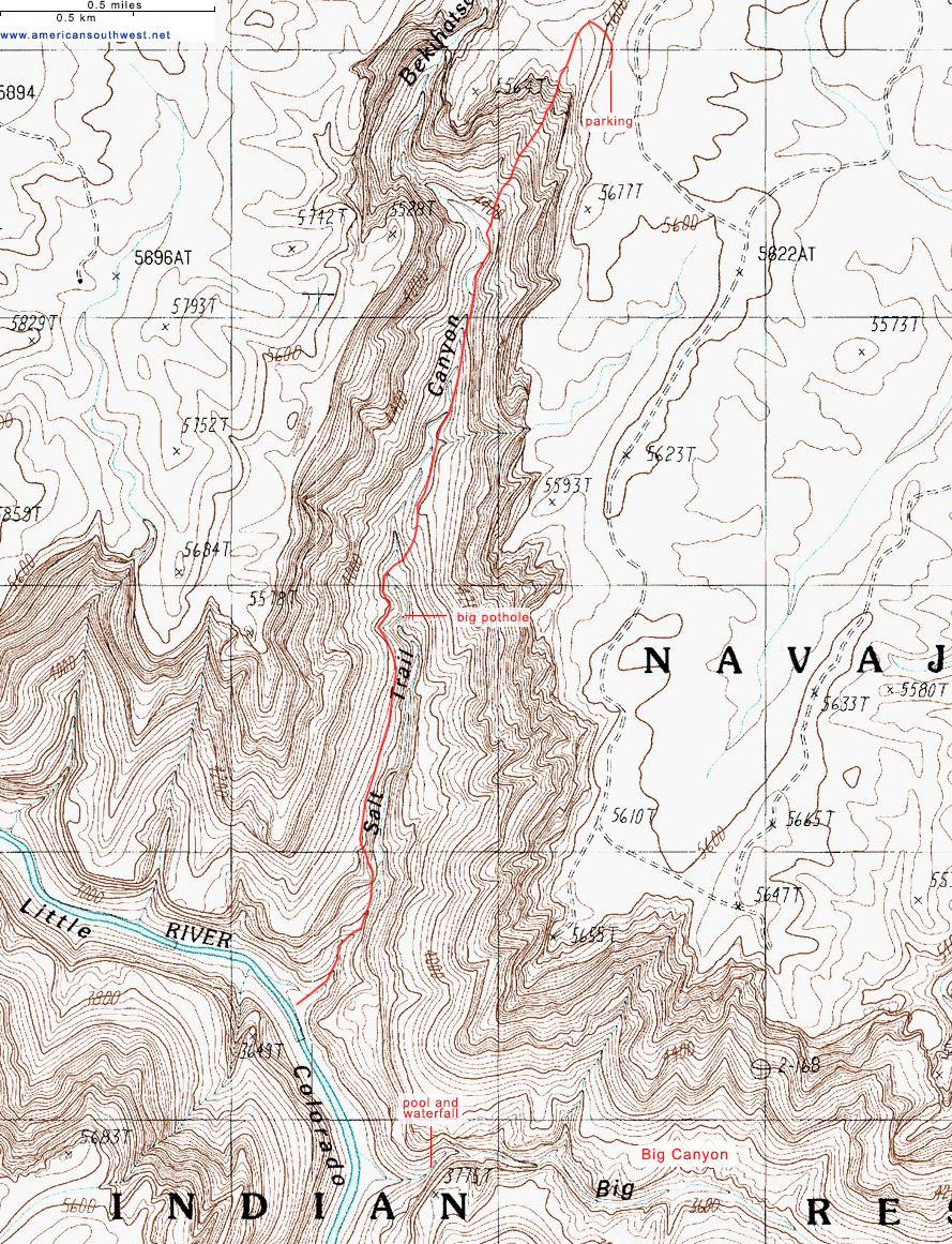 Topographic Map of the Salt Trail, Grand Canyon National Park, Arizona