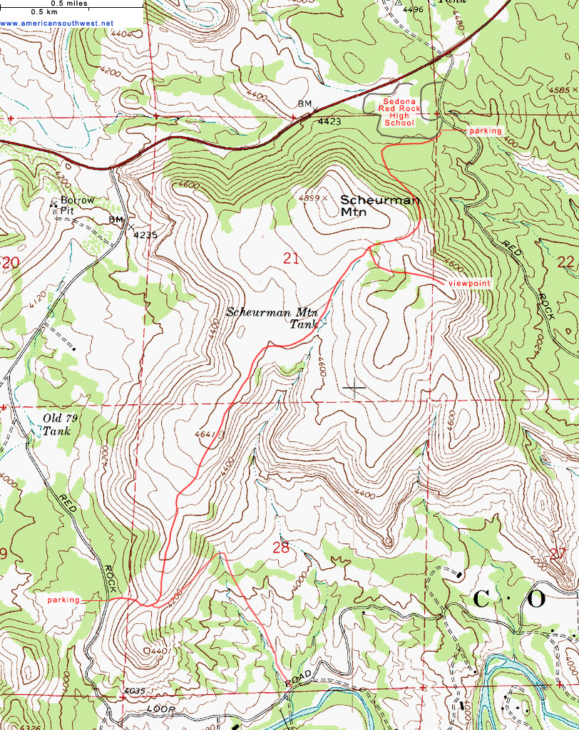 Map of the Schuerman Mountain Trail, Sedona