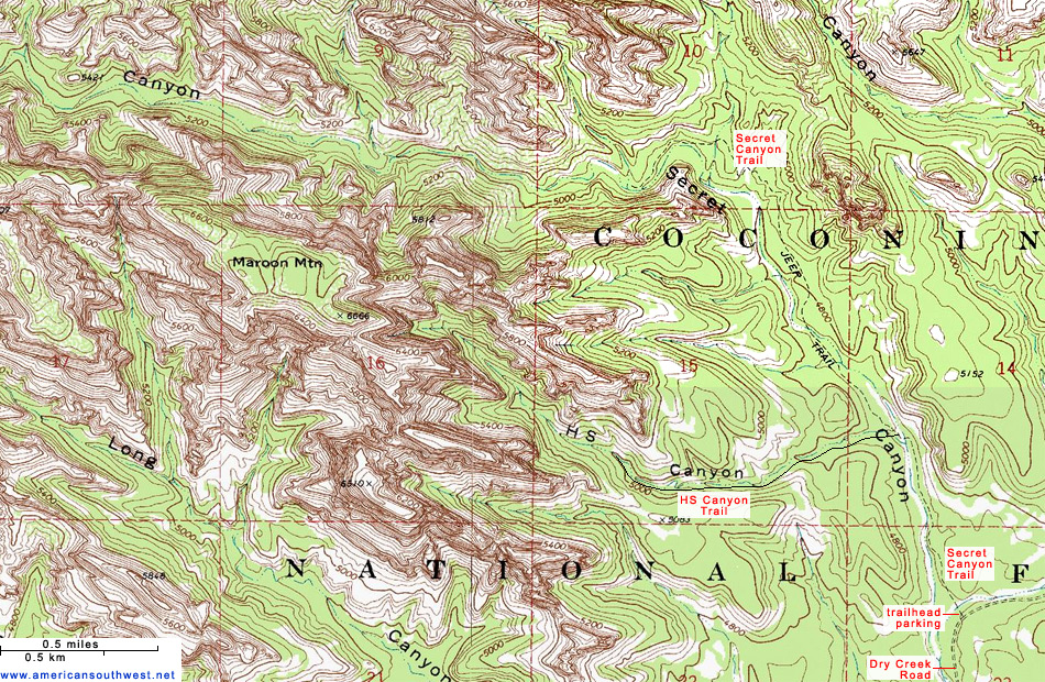Topographic Map Of The Secret Canyon Trail Sedona Arizona - Arizona topographic map