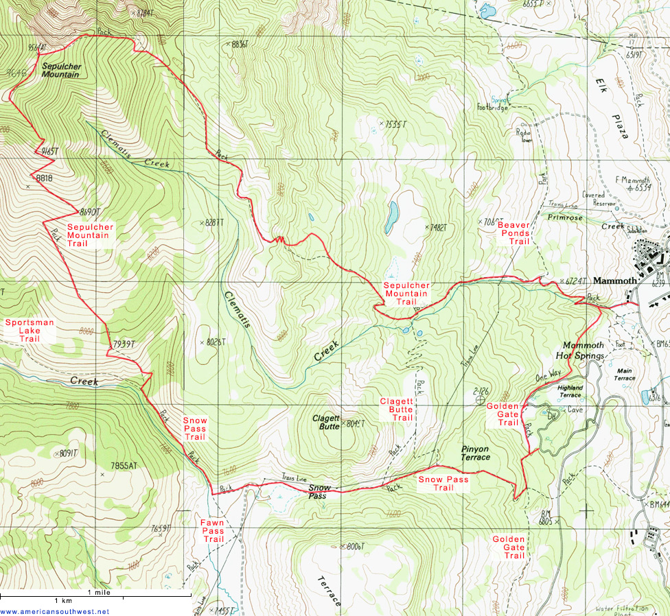 Topographic Map Of Yellowstone.Topographic Map Of The Sepulcher Mountain And Snow Pass Trails