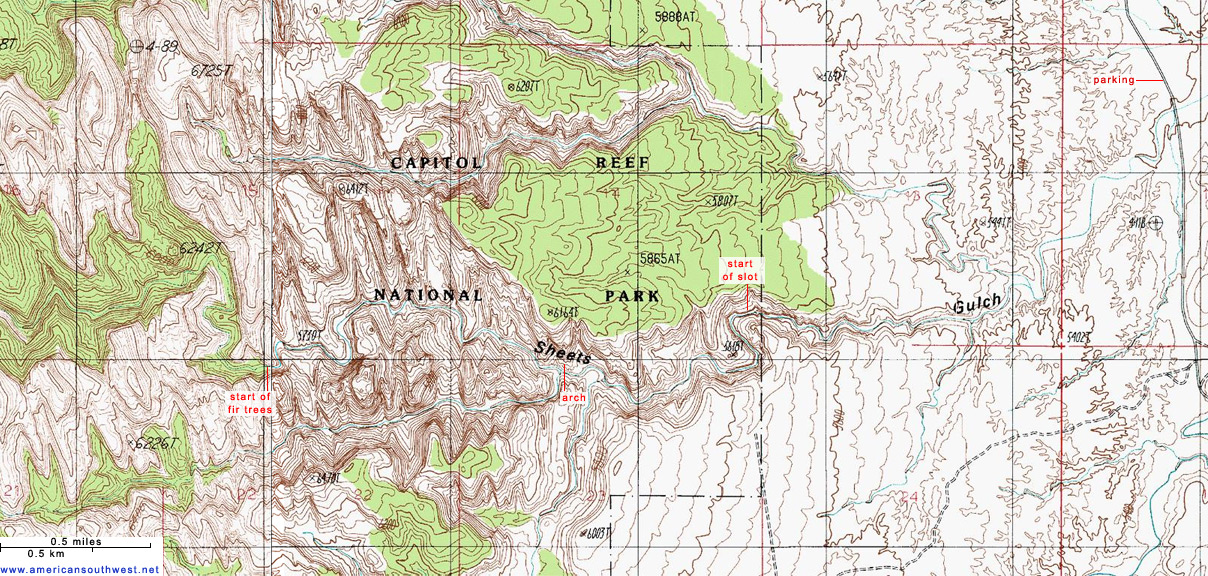 Topographic Map of Sheets Gulch, Capitol Reef National