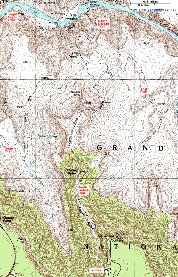 Topographic Map Grand Canyon.Topographic Map Of The South Kaibab Trail Grand Canyon National