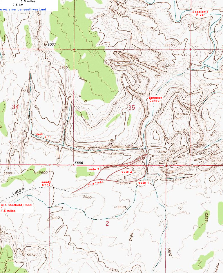 Topo Map of Spencer Canyon