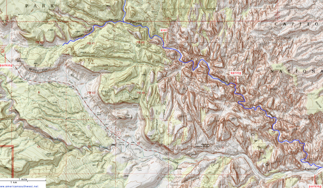 Topographic Map of Spring Canyon Capitol Reef National Park Utah