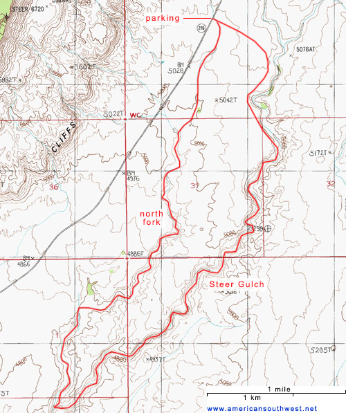 Topo map of Steer Gulch