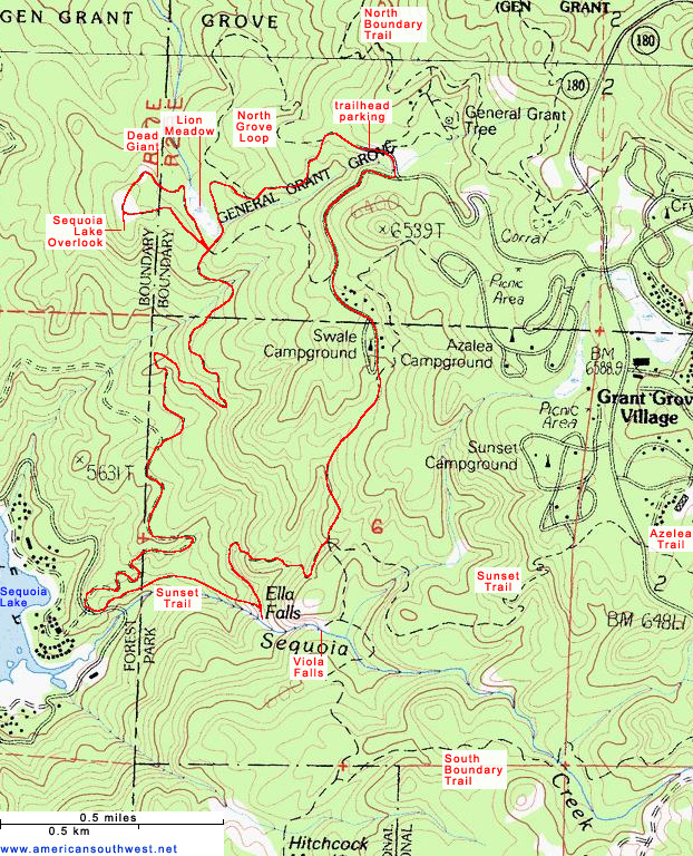 Topographic Map of the Sunset Trail Kings Canyon National Park
