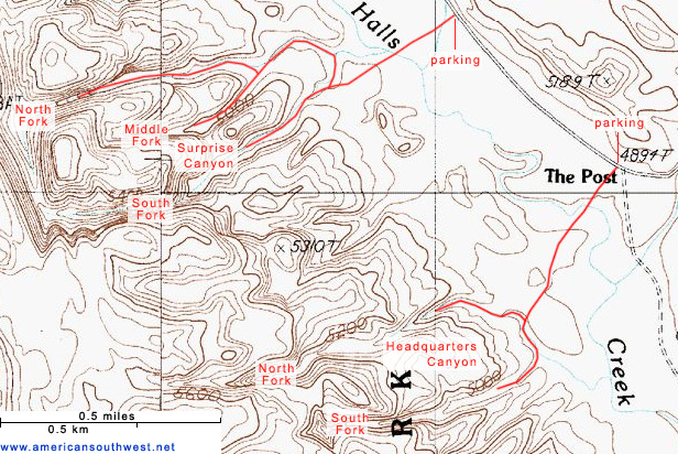 Map of Surprise Canyon