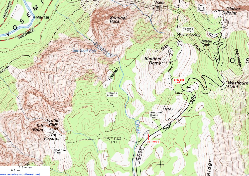 Topographic Map of the Taft Point and Sentinel Dome Trails, Yosemite on concordia glacier, john muir glacier, cirque glacier,