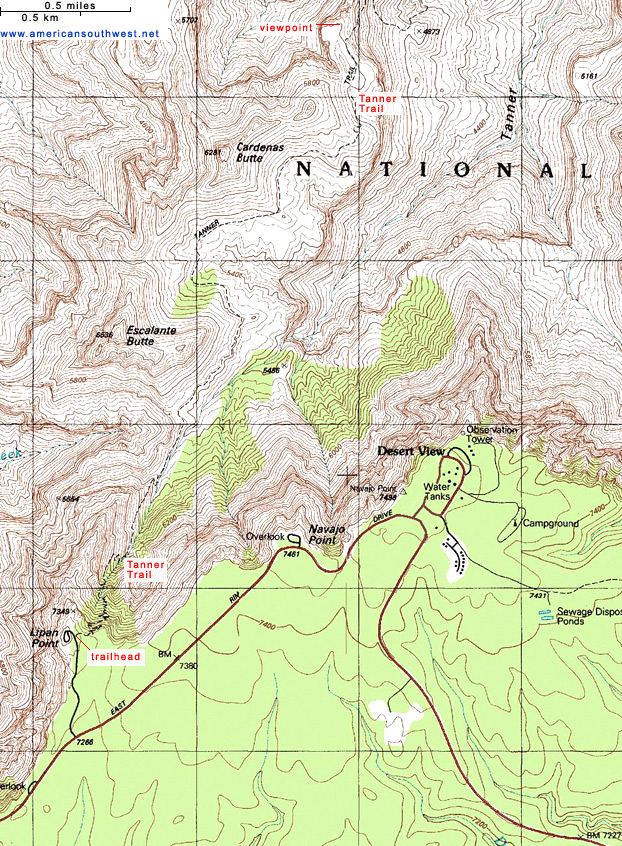 Map of the Tanner Trail