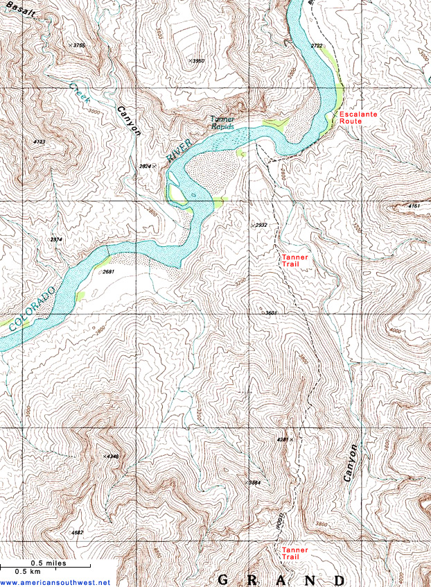 Topographic Map of the Tanner Trail, Grand Canyon National Park, Arizona