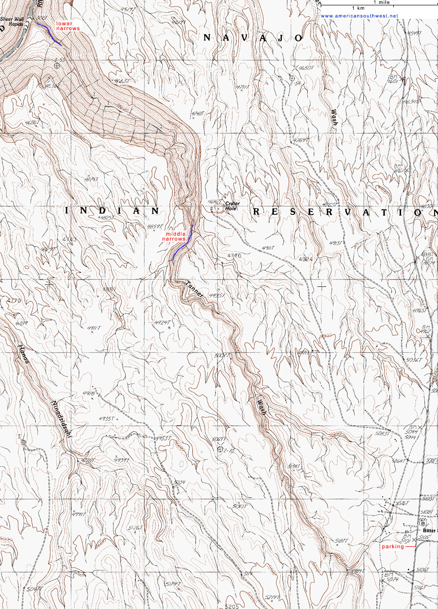 Map of Tanner Wash, Arizona