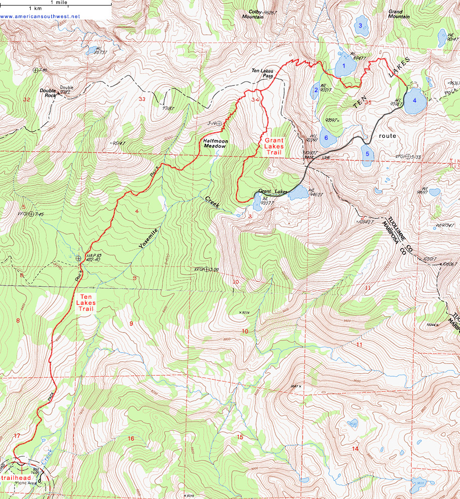 Topographic Map Of The Ten Lakes And Grant Lakes Trails Yosemite