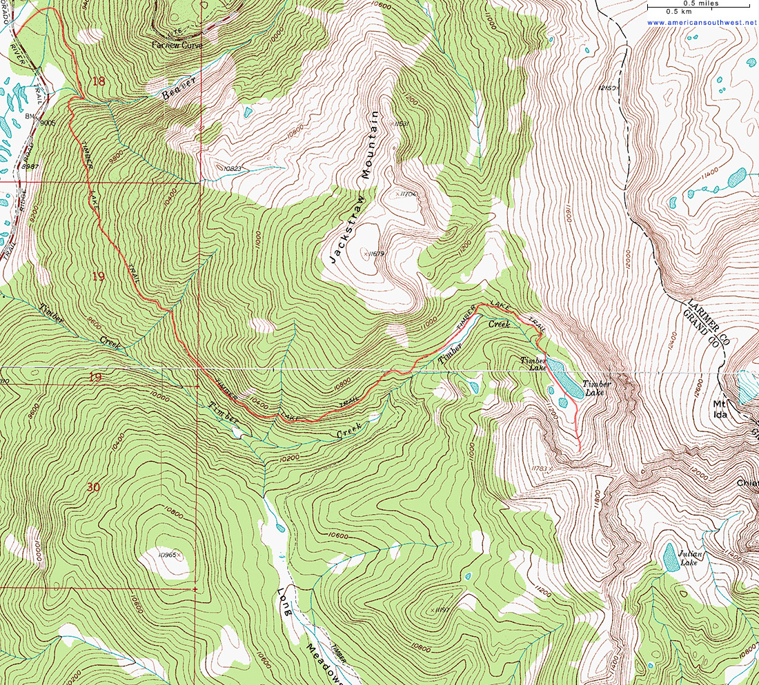 Topo Map of the Timber Lake Trail