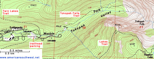 Topographic Map of the Tokopah Falls Trail