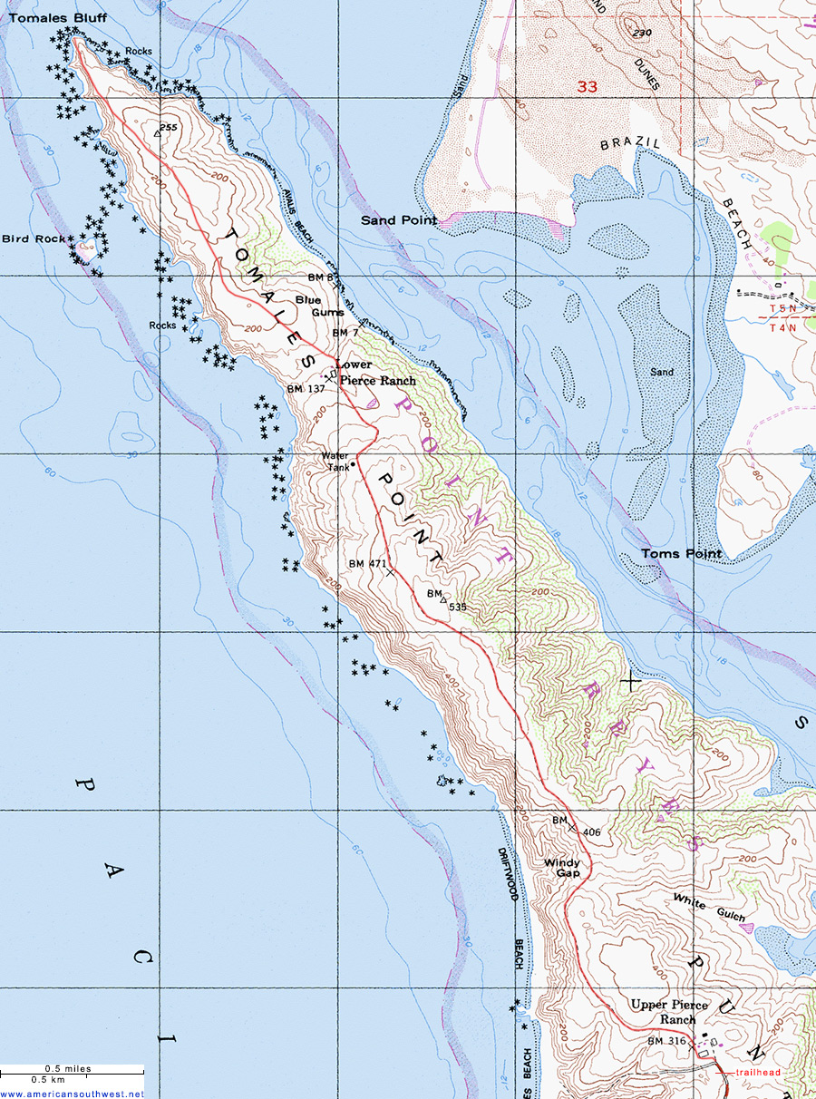 Topographic Map Of The Tomales Point Trail Point Reyes National