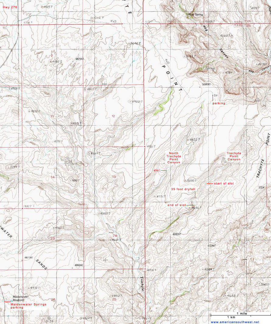 Topographic Map of Trachyte Point Canyon