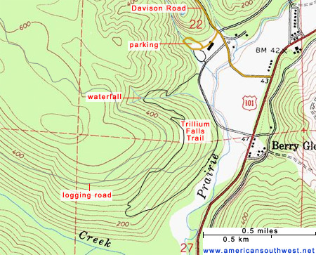 Map of the Trillium Falls Trail