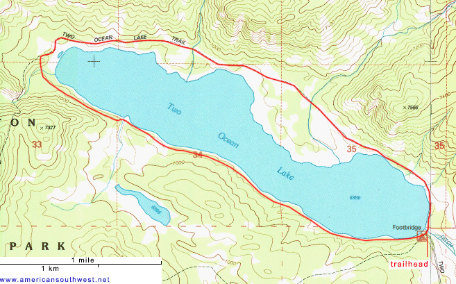 Topo map of Two Ocean Lake