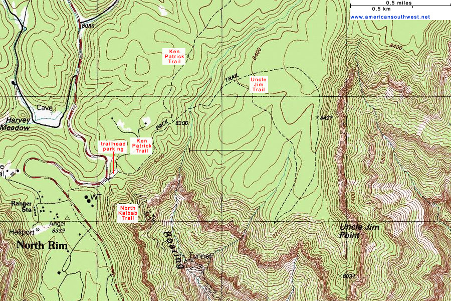 Topographic Map Grand Canyon.Topographic Map Of The Uncle Jim Trail Grand Canyon National Park
