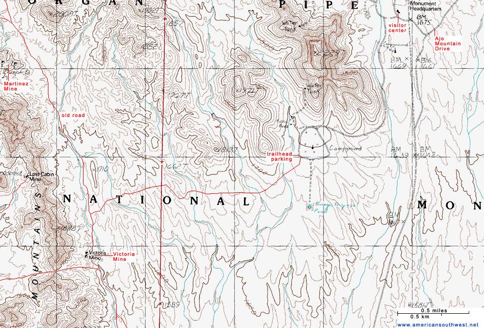 Topographic Map Of The Victoria Mine Trail Organ Pipe
