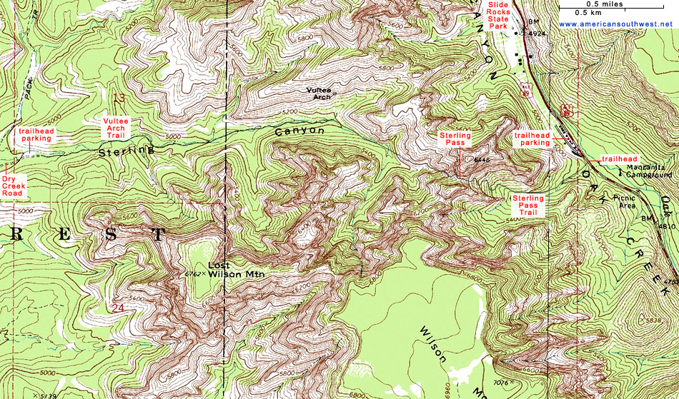 Map of the Vultee Arch/Sterling Pass Trails, Sedona