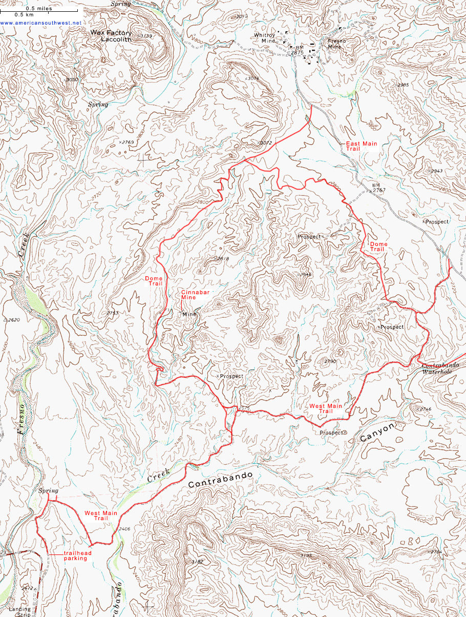 Topographic Map of the Dome Trail Big Bend Ranch State Park Texas