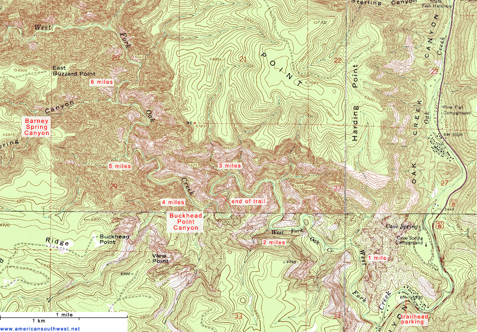 Topographic Map of the West Fork of Oak Creek, Sedona, Arizona