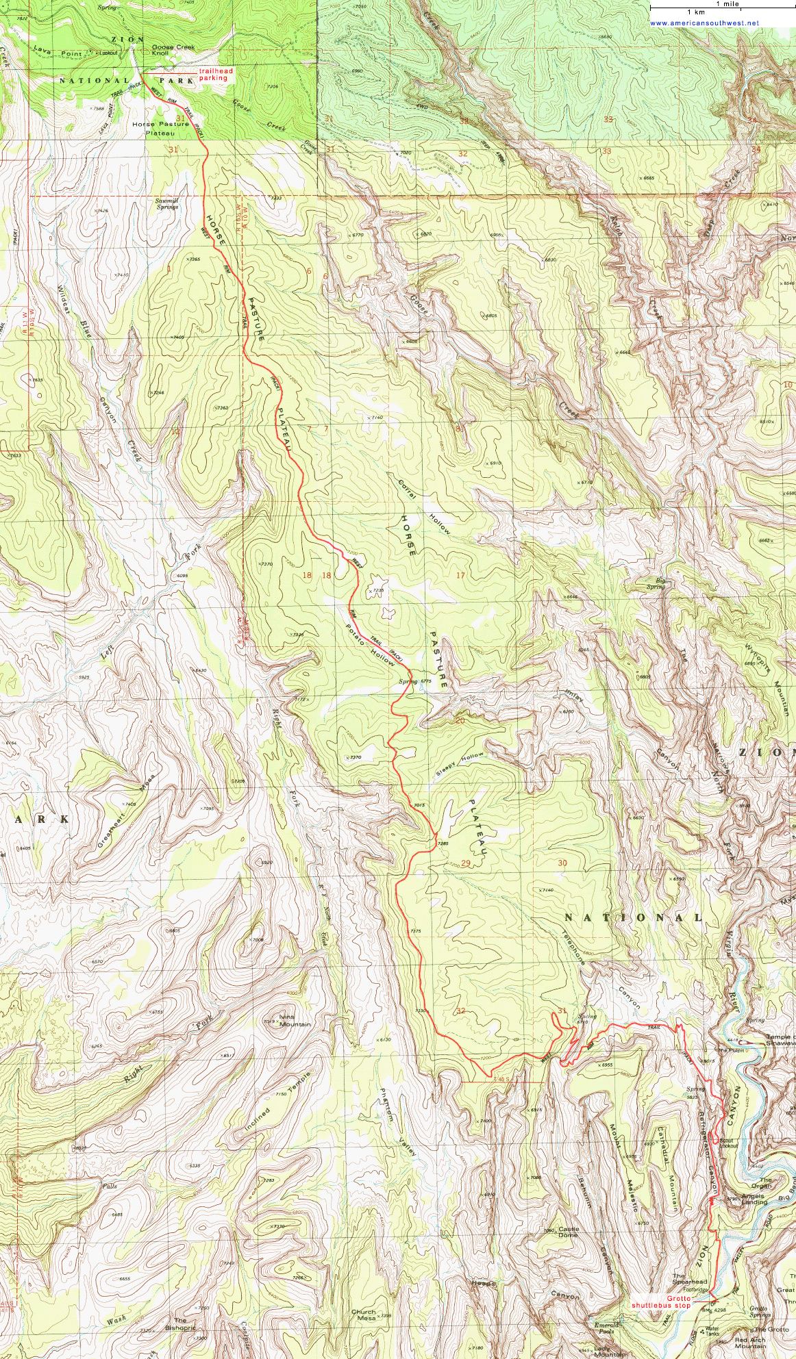 Topographic Map of the West Rim Trail, Zion National Park, Utah on