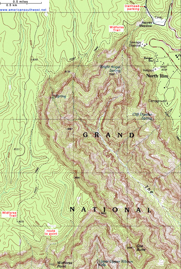 Topographic Map Of The Widforss Trail Grand Canyon