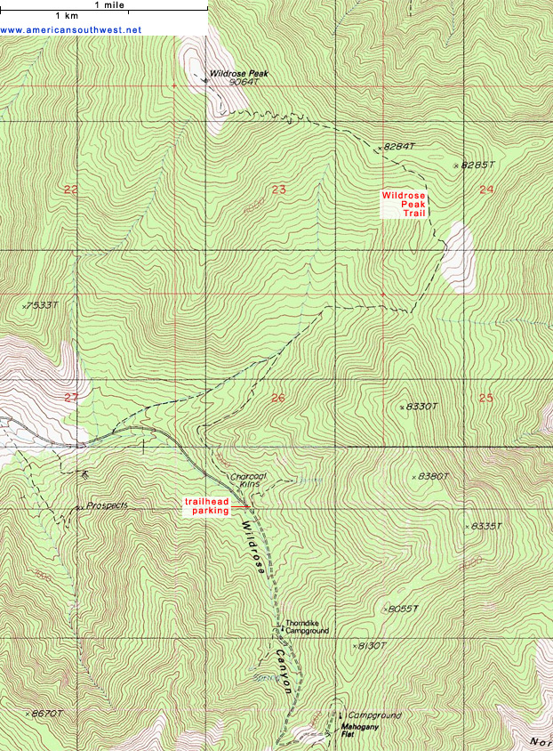 Topographic Map of the Wildrose Peak Trail Death Valley National