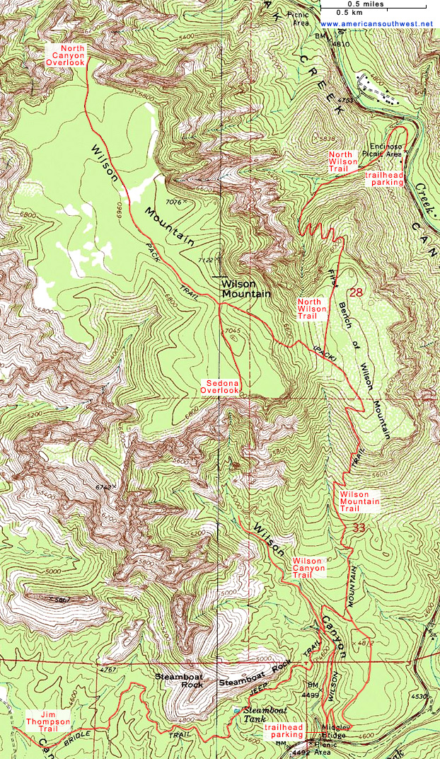 Map Of Arizona Including Sedona.Topographic Map Of The Wilson Mountain Trails Sedona Arizona
