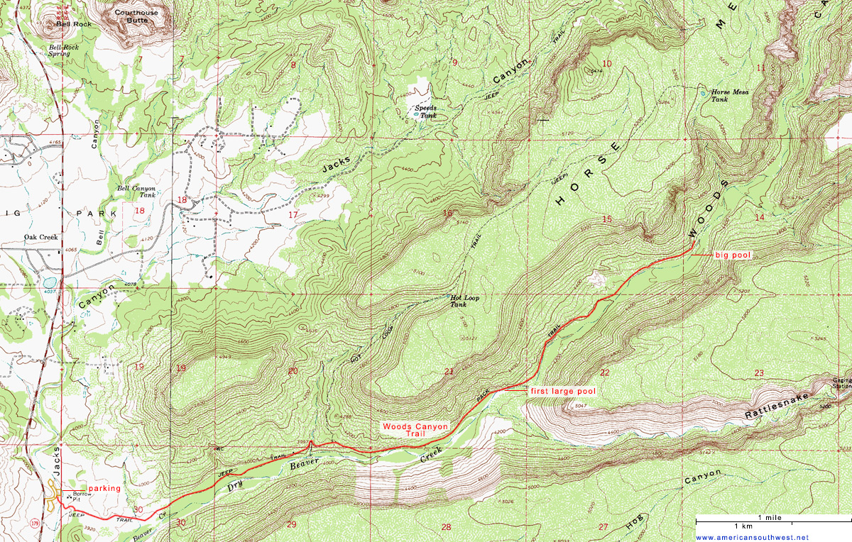 Map of the Woods Canyon Trail, Sedona