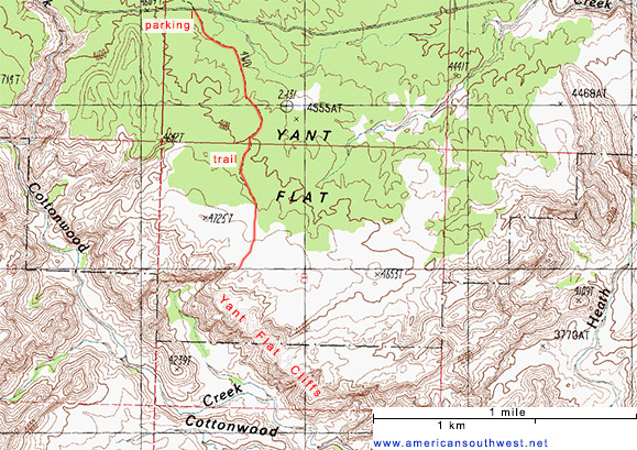 Topo Map of the Yant Flat Cliffs