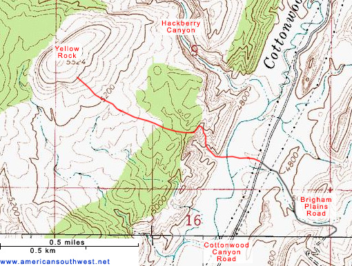 Topo Map of Yellow Rock
