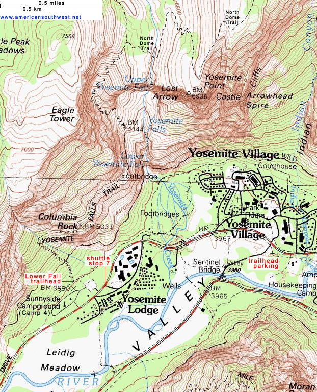 Topographic Map Of The Yosemite Falls Trail Yosemite National Park