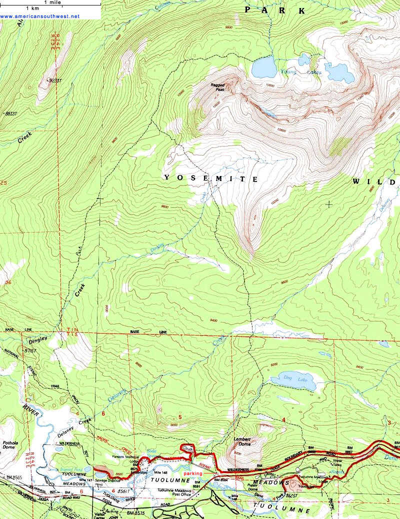 Topographic Map Of The Young Lakes Trail Yosemite National Park