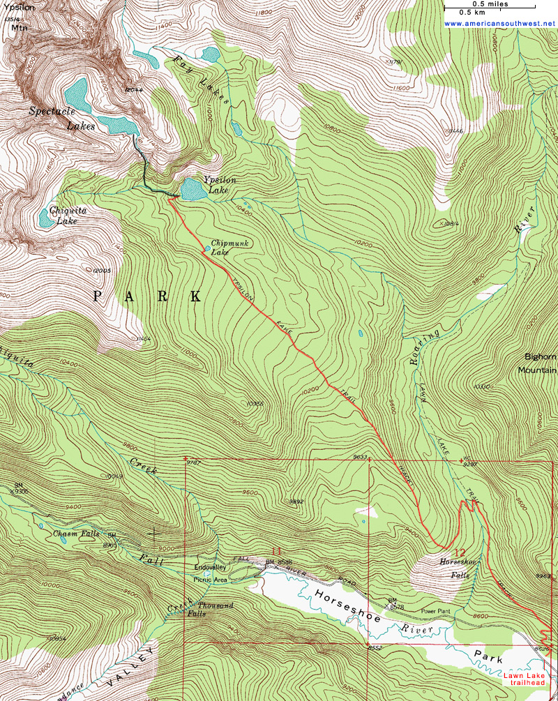 Topographic Map Rocky Mountains.Topographic Map Of The Ypsilon Lake Trail Rocky Mountain National