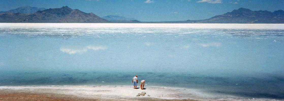 Salt Lake Desert And The Great Salt Lake Utah