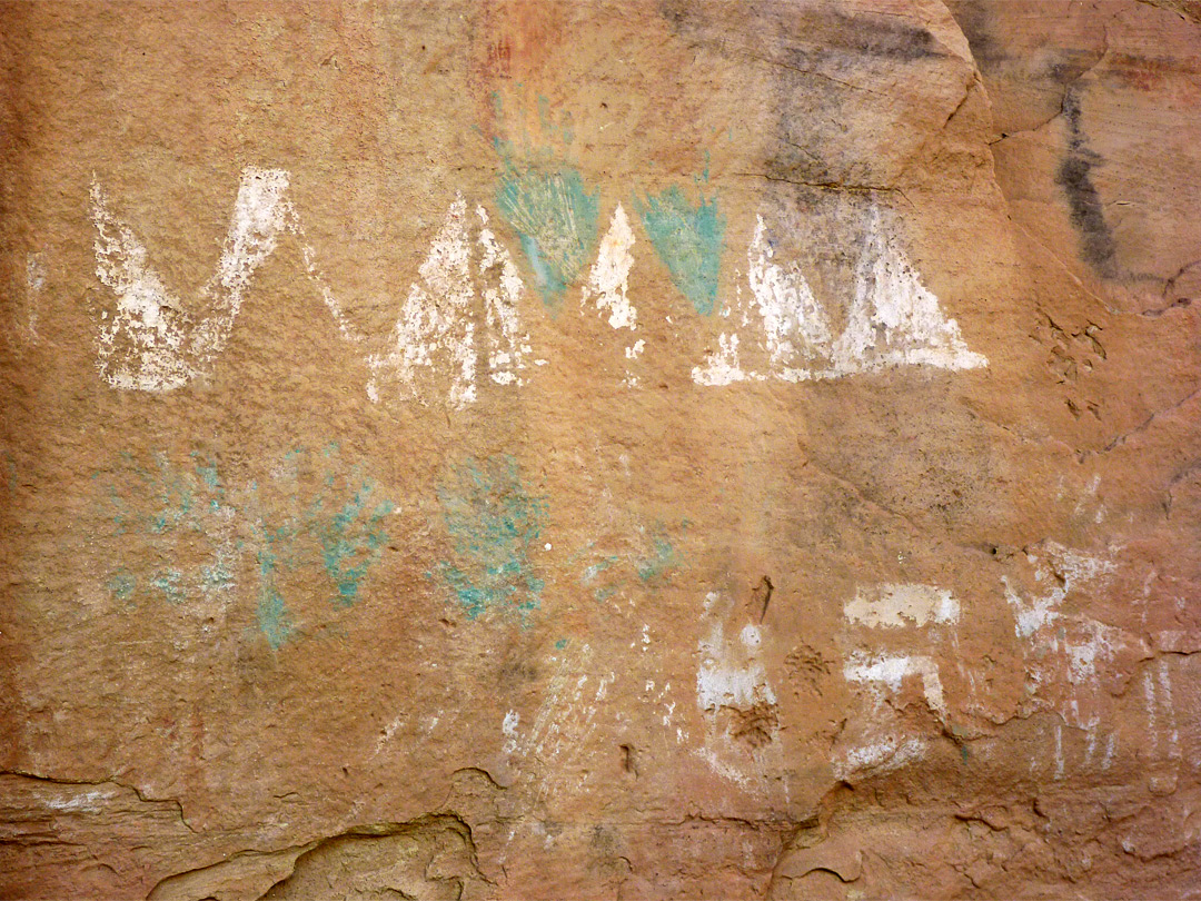 Green and white pictographs