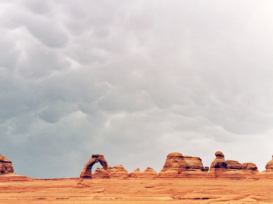 Distant view of Delicate Arch