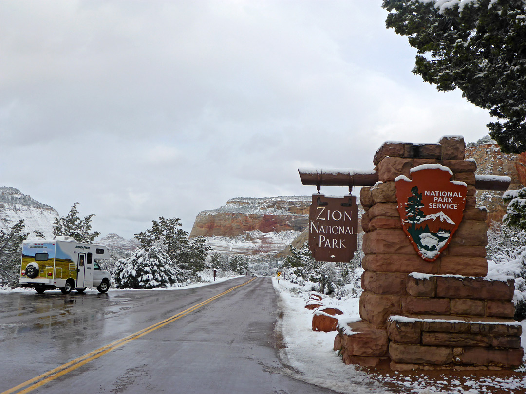Snow at the east entrance