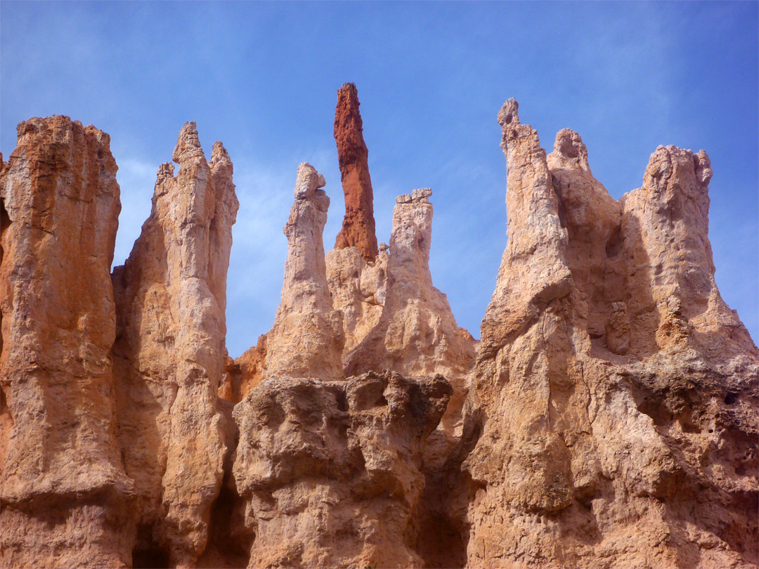 Differently colored spires