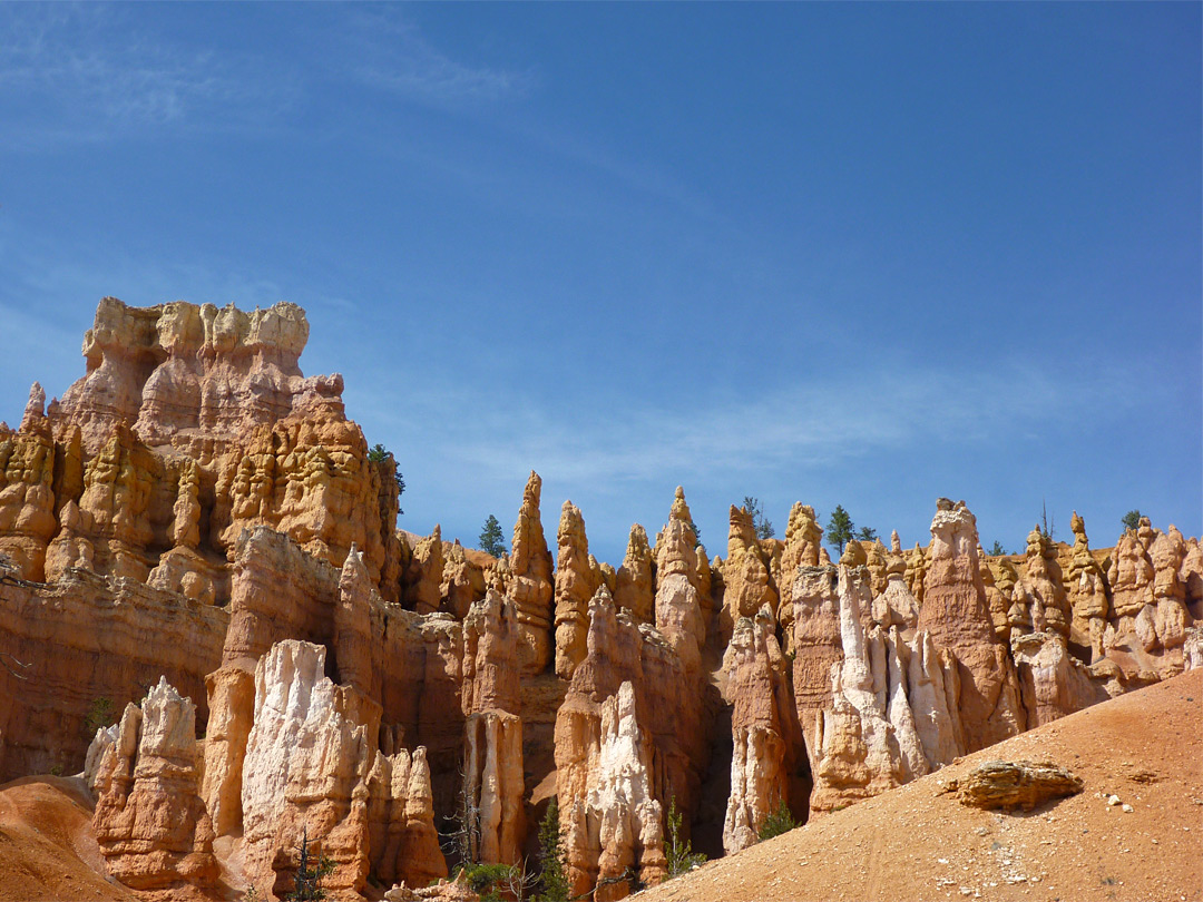 Orange and white hoodoos