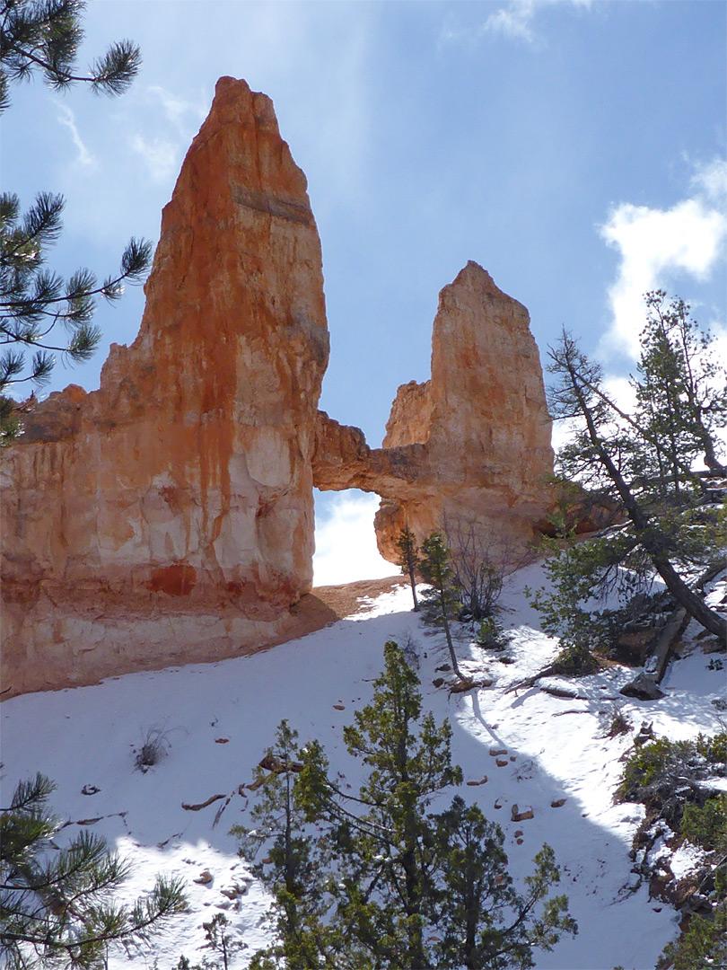 Snow Below Tower Bridge Fairyland Loop Trail Bryce Canyon National Park Utah