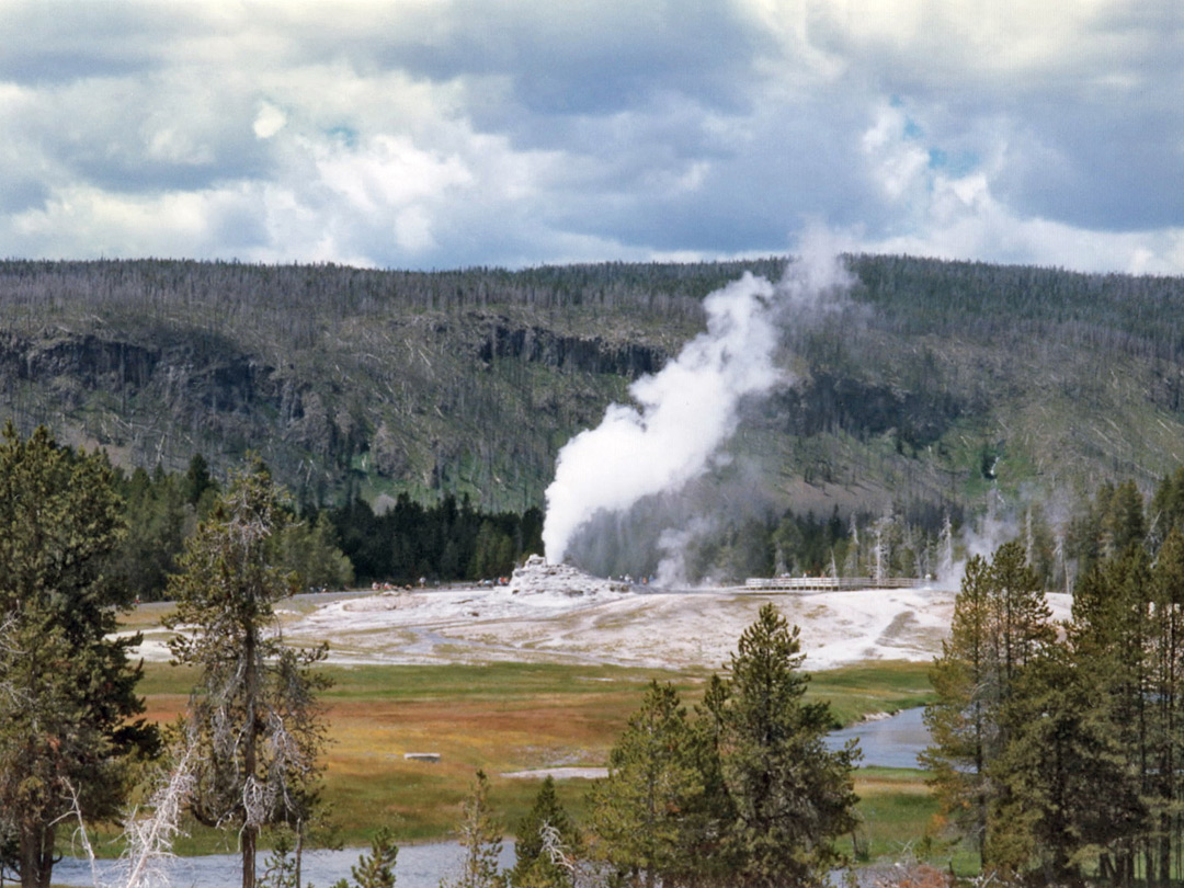 Distant view of Castle Geyser