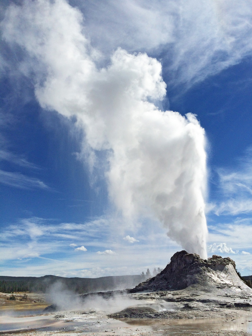 Steam and clouds above Castle Geyser