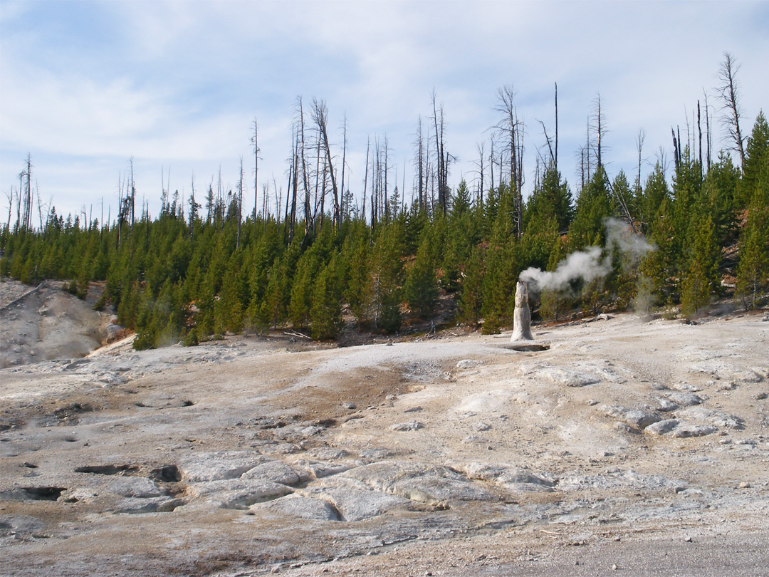 Smoking geyser cone