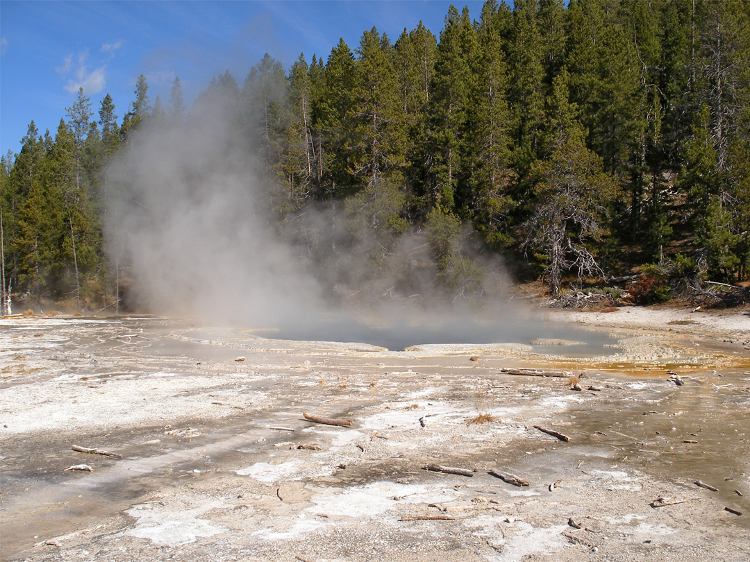 Steam above Solitary Geyser