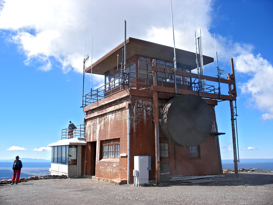 Fire lookout tower on the summit